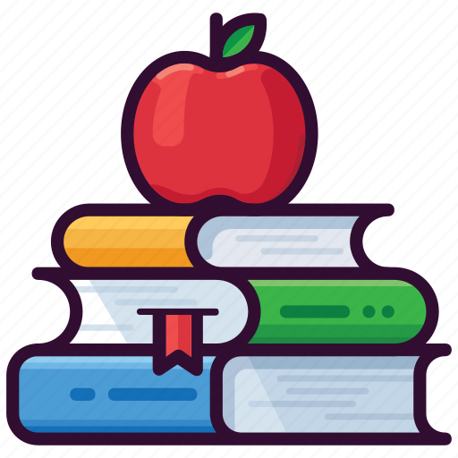 apple, books, education, learning, library, read, school icon