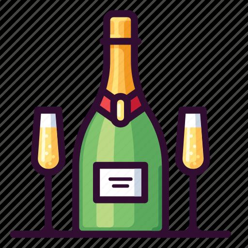 Alcohol, beverage, bottle, champagne, drink, glass icon - Download on Iconfinder