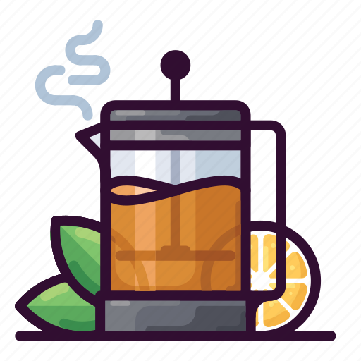 beverage, drink, french press, hot, lemon, tea icon