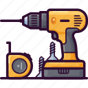 construction, drill, equipment, repair, tool, work icon