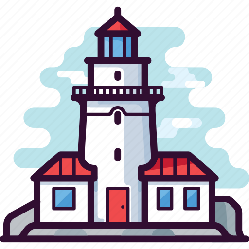 architecture, building, house, light, lighthouse, sea icon