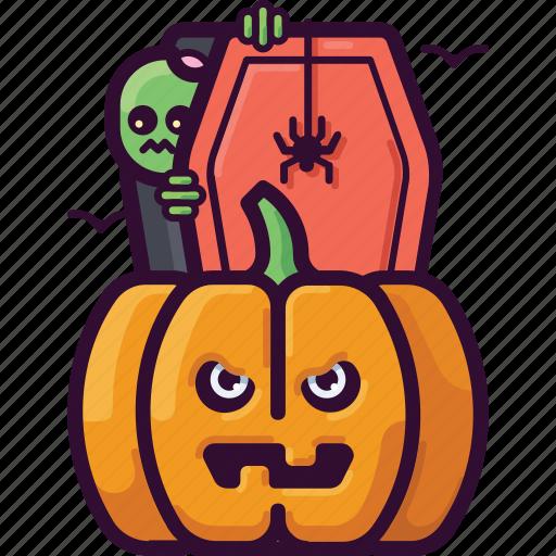 death, halloween, horror, monster, pumpkin, spooky, zombie icon