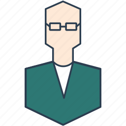 clever, man with glasses, manager, smart, staff icon