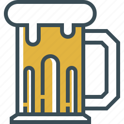 beer, beer foam, beer glass, outline, yellow icon