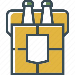 beer bottle, beer boxe, outline, set of beer, yellow icon