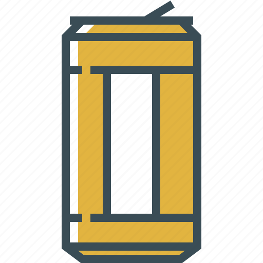 beer, can of beer, outline, yellow icon