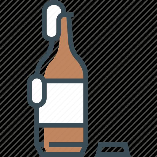 beer bottle, bottle, brown, outline icon