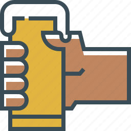 beer, drink, glass, hand, outline icon