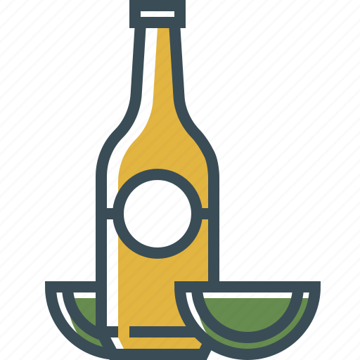 beer bottle, bottle, green, lime, yellow icon