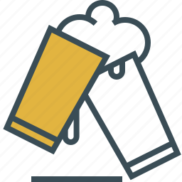 beer, beer foam, outline, two glass of beer, yellow icon