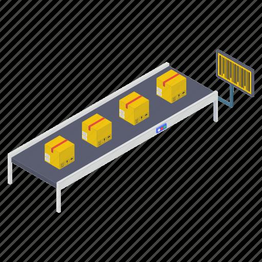 conveyor belt, package sorting, pallet logistics, product distribution, shipment handling icon