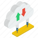 cloud data, cloud technology, data downloading, data transfer, data uploading icon