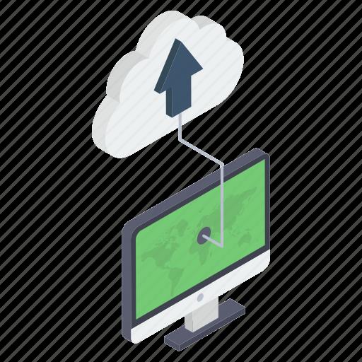 cloud computing, cloud data, cloud hosting, cloud storage, cloud technology, data uploading icon