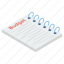 accounting, budget document, budget report, budgeting, financial estimate icon