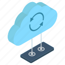 cloud computing, cloud storage, cloud synchronization, cloud technology, data backup icon