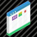 digital advertising, online marketing, web ads, web advertisements, web banners icon