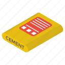 cement, cement bag, cement sack, concrete bag, construction material icon