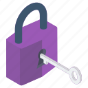 access key, key lock, latch, lock, padlock, password, security icon