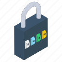 access key, latch, lock, padlock, password, security