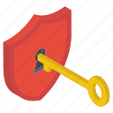 access key, cyber key, digital access, private key, shield unlock icon