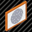 authentication, biometric access, biometric identification, biometry, fingerprint scanning, thumb scanning, thumb verification icon
