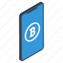 bitcoin blockchain, mobile banking, mobile payment, mobile transfer, online cryptocurrency icon