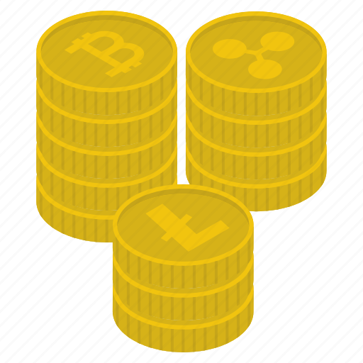 capital, coins stack, cryptocurrency coins, digital currency, litecoins, money stack, ripple coins icon