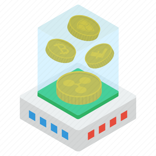 bitcoinchain, btc, coins box, cryptocurrency, digital currency, ripple coins icon