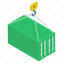 container crane, container hoist, container lifting, crane service, shipping container icon