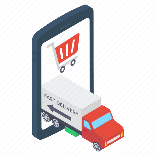delivery van, mcommerce, mobile cargo, mobile purchasing, online delivery icon