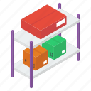 package rack, package storage, parcel rack, parcel shelf, parcels storage icon