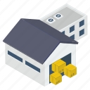 depository, stockroom;, storehouse, storeroom, warehouse icon