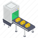 conveyor belt, package sorting, pallet logistics, product distribution, shipment handling icon