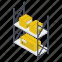 package rack, package storage, parcel rack, parcel shelf, parcels storage icon