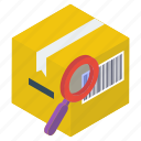 courier search, parcel analysis, parcel monitoring, parcel tracking, searching parcel icon