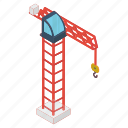 crane machine, material lifter, pulley crane, tower crane, weight holder icon
