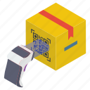 barcode reader, barcode scanning, order tracking, package scanning, parcel scanning icon