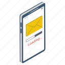 download mail, electronic correspondence, mail loading, mobile mail, sending mail icon