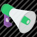announcement, bullhorn, digital marketing, loud hailer, megaphone icon