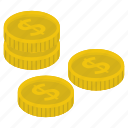 capital, coins, coins stack, currency, money stack icon