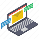 digital mail, electronic mail, email, online communication, online correspondence icon