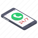 24 hour services, 24/7 service, customer services, customer support, helpline, on time services icon