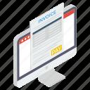 invoice paper, itemized bill, online billing, online invoice, online receipt, online statement icon