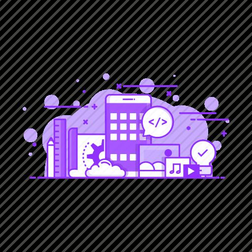 'Set of Modern Flat Line Purple Color Concepts' by Darko Vujic