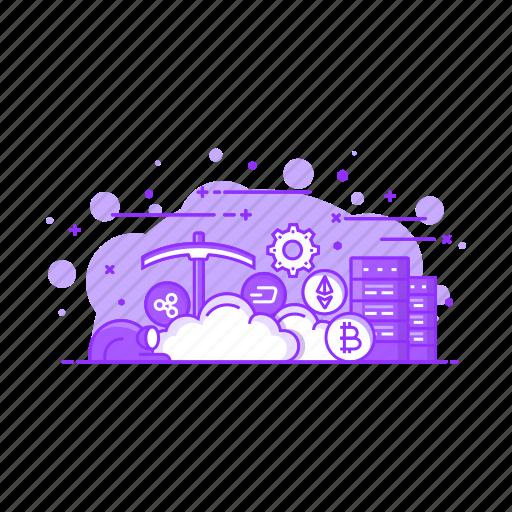cloud, computing, internet, mining, server, storage icon