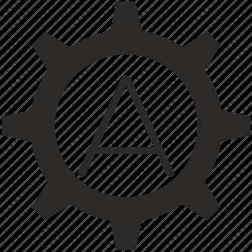 a, gear, key, keyboard, letter icon