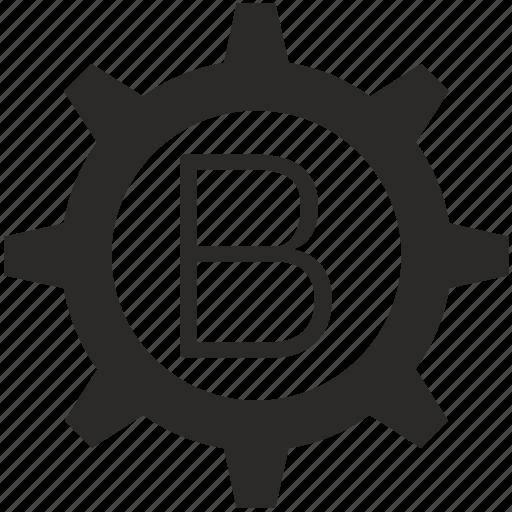 b, gear, key, keyboard, letter icon