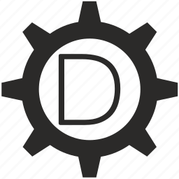 d, gear, key, keyboard, letter icon