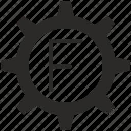 f, gear, key, keyboard, letter icon