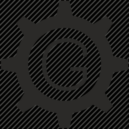 g, gear, key, keyboard, letter icon